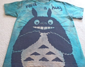 Need a hug, Totoro with a big smile ready to give you a little love, man's large t-shirt, discharged  & dyed, check out other Totoro designs
