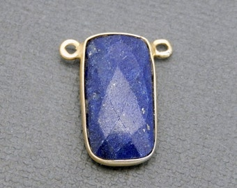 12% off Wholesale Lapis Lazuli Rectangle Pendant Connector - 10mm x 20mm Gold Over Sterling Bezel - Double Bail Charm Pendant (S34B15-01)