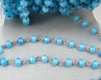 35% off Wholesale Aqua Chalcedony Wire Wrapped Beaded Chain - Oxidized Silver plated Rosary Style Chain - PER FOOT (CHN-325)