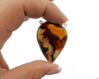 Brown and White Teardrop Agate Slice Double Bail Pendant with Silver Electroplated Edge (S-680)