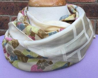 Silk infinity scarf, Japanese vintage kimono silk