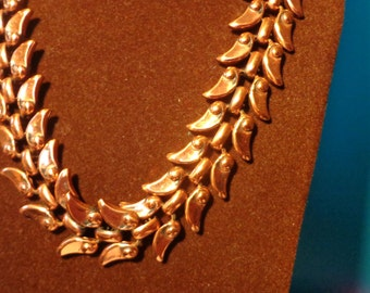 RENOIR Copper NECKLACE, Classic Beautiful, A Version of Wheat pattern Vintage Matisse Signed Jewelry