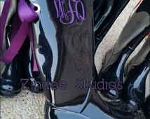 Ladies Monogram Rubber Boots, BLACK rain boots with bow or without, monogram rain boots with bow or without