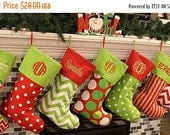 SALE Christmas Stockings Christmas Stocking Monogrammed Christmas Stockings Personalized Christmas Stocking 16 Patterns Availble