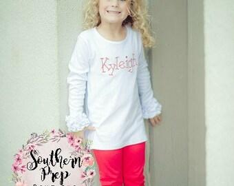 Girl's Long Sleeve Layering T shirt - WHITE Long Sleeve Ruffle icing top - Icing Shirt - Fall Shirt -Girl's Ruffle shirt -Girl's shirt