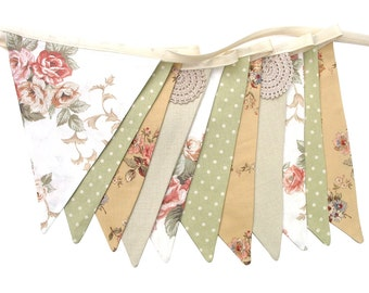 Vintage Bunting - Country Roses & Doily Lace Floral Flags . Garden Tea Party Decoration. Party Banner, Market Stall, Pennant, etc.
