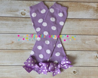 Girl's leg warmers with bows - Lilac