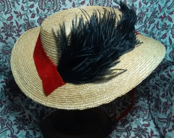 Red Velvet and Black Plume - 1860s Civil War Era Straw Hat -  by Anna Worden Bauersmith