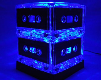 Music Lover Gift Blue Cassette Tape Light Man Cave Mood Light