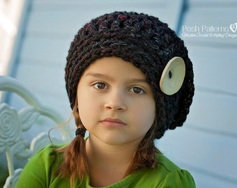 Crochet PATTERN - Crochet Hat Pattern - Crochet Pattern Hat - Slouchy Hat Pattern - Crochet Beret - Baby, Toddler, Kids, Adult - PDF 390