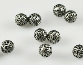 50 pieces SHINEY 6mm Silver Plated Filigree Round  or Black Oxide Filigree Round Spacer Beads