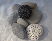 Crochet Stones, Black and White, Small Pebbles