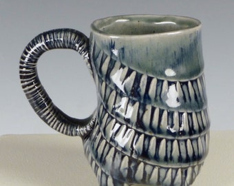 Blue Tire Tracks Texture Mug - Ceramic Coffee Mug, Tea Cup
