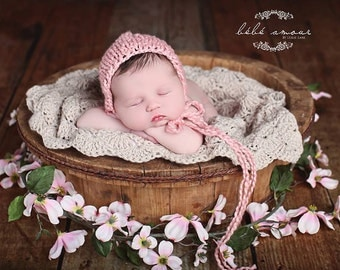 Newborn bonnet - 'Rose Blossom' - organic baby bonnet - photo prop - knit baby bonnet - knitbysarah - Stitches by Sarah