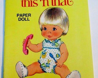 SUMMER SALE 20% Off Vintage Baby This n' That Paper Doll Book by Whitman, 1970s Collectible Uncut