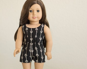 Sale  ~ Trendy Key Print Romper ~ Fits 18 Inch Dolls ~ Doll Clothes