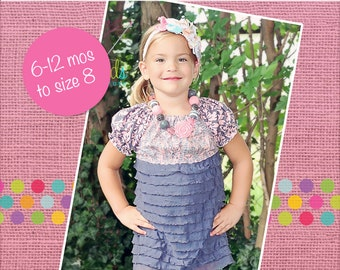 Josie's Ruffle Fabric Peasant Dress and Top PDF Pattern sizes 6-12 months to 8