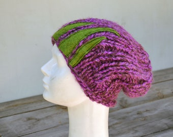 fuchsia and green big Hand knited Slouchy hat soft warm ooak unique fashion design felt decoration, fall winter beanie chunky slouch 12