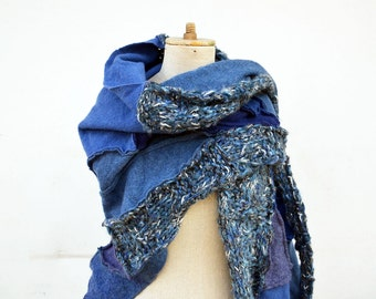 Big blue poncho shawl Wool Felt Hand knited patchwork art to wear, unique OOAK, soft felted wool geometrical woman fashion jeans blue 150