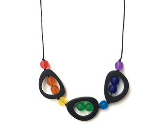 Rainbow Nursing Necklace - Troika - Hippie Choker/ Mid Length Adjustable Resin Necklace - Black, ROYGBIV