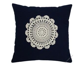 "Navy Blue Doily Decorative Throw Pillow Cover / Pillow Case / Cushion Cover / Cotton / 20x20"""