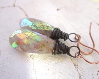 Rutilated Quartz Earrings. Faceted Dangle Earrings. Wire Wrapped Briolette Earrings. Rutilated Quartz Jewelry. Gemstone Jewelry