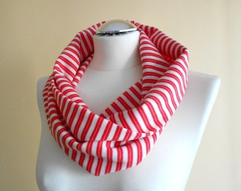 Striped Infinity Scarf / Off White and Red Stripe Circle Scarf / Jersey Loop Neck Warmer / Sailor Style Handmade Scarves