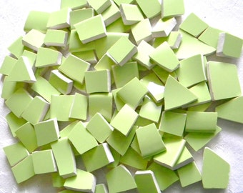 CELERY Green - Solid Color Mosaic Tiles - Recycled Plates - 50 Tiles