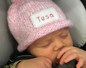 Knit Baby Hat, Preemie hat, Baby boy hat, baby girls hat, personalized, monogram hat, winter hat, Free monogrammed name, Preemie/24 Months