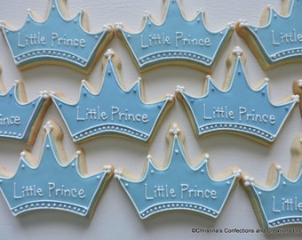 Baby Boy Little Prince or Baby Girl Princess Decorated Crown Sugar Cookies (#2446)