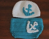 Custom order RESERVED for sweetbellybtn White and Teal Nautical Crochet Hat and Diaper Cover.
