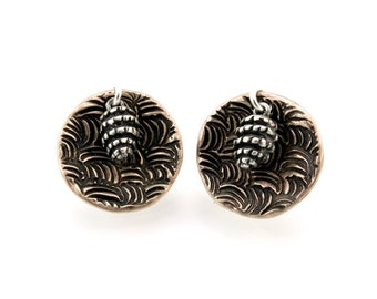 Bronze, Pine Cone, Earrings, Post Earrings, Pine Cone Earrings, Pine Cones, Bronze Earrings, Stud Earrings, Bronze Studs, Round Studs, 1139