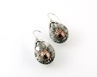 Bronze Beetle, Sterling Silver Earrings, Dangling Earrings, Beetle Earrings, Beetle, Silver and Bronze, Bronze Earrings, Scarab Beetle, 1162
