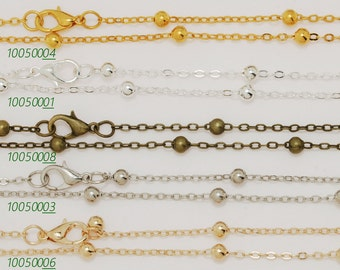 20PCS  4mm brass Necklace Chain,Self Closing Clasp,Length 30 inches 100500