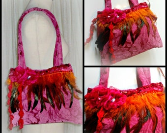 handmade  embroidered feather bag  ...pin up style,gipsy,