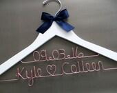2 Line Wedding Hanger, Rose Gold Hanger, Two Line Wedding Hanger, Wedding Date Hanger, Couples Gift, Personalized Hanger, Engagement Gift
