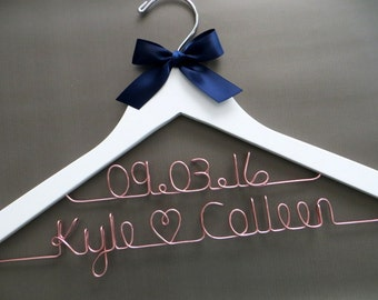 2 Line Wedding Hanger, Rose Gold Hanger, Two Line Wedding Hanger, Wedding Date Hanger, Couples Gift, Personalized Hanger, Engagement Gift