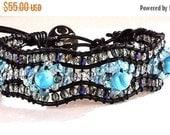 Clearance Sale 3 Tier Wrap Bracelet - Blue Crazy Lace Agate - Crystals - Leather Cord - Metal Button Clasp