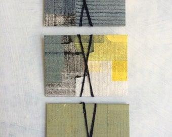 miniature envelopes/hand printed/hand cut monoprint envelopes/set of three