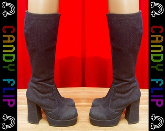 Vintage 90s Unbranded Club Kid Chunky Platform Gogo Mod Clueless Pop Star Denim Jean Dark Blue Print Boots Booties Women's Shoes 5