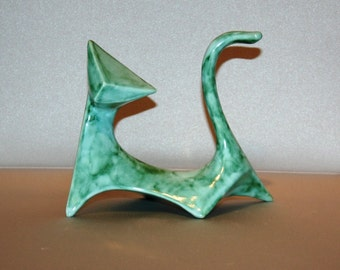 Modern Cat in Turquoise and Green Crystal Glaze (Right cat) from 1960's vintage mold that my grandmother gave me