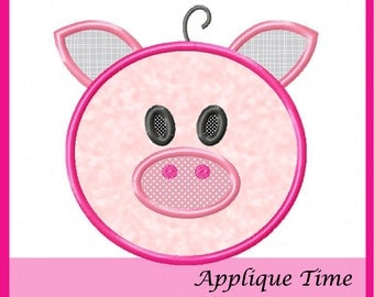 Instant Download Pig Face Machine Embroidery Applique Design 4x4, 5x7 and 6x10