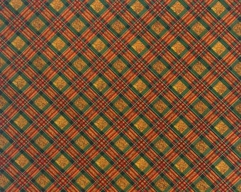 Orange Brown Green Gold Plaid Fabric by the yard,  100% Cotton