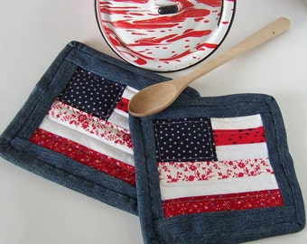 Pot Holders Blue Indigo Denim with Red and White Quilted Farmhouse Style Americana Hot Pads Hostess Gift Set of Two from Upcycled Fabrics