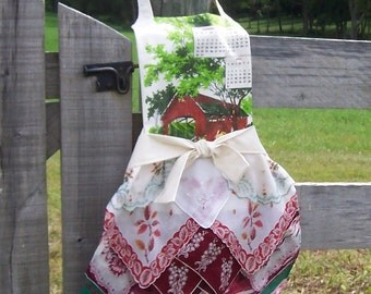 Thanksgiving Apron from Vintage Handkerchiefs Hostess Gourmet Gift Farmhouse Style Upcycled Hankies in Fall Colors