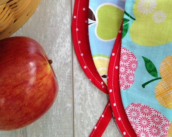 NEW for FALL, Custom Order, Made to Order, Reversible Cotton Modern Fit Baby Bonnet, Sun Hat, Apples. Newborn 0 - 18 Months