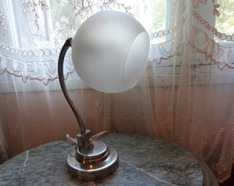 Antique 1920s art deco French industrial desk table lamp lighting light artdeco lamp adjustable desk lamp w chrome wmilk glass lamp shade