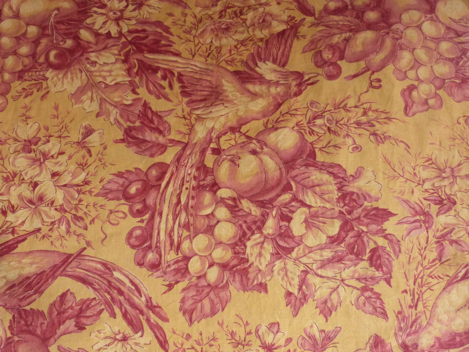 Antique french toile fabric toile de jouy fabrics w bird decor for French toile fabric