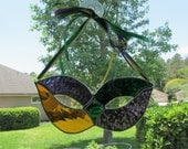 Stained glass Mardi Gras Mask in Gold/Green/Purple with Coordinating Ribbon Hanger - Unusual Gift Item - Fat Tuesday - Carnival