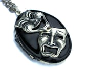 Comedy Tragedy Mask, Comedy Tragedy Necklace, Comedy and Tragedy, Mask Necklace, Mask Masquerade, Theatre Mask, Theatre Jewelry